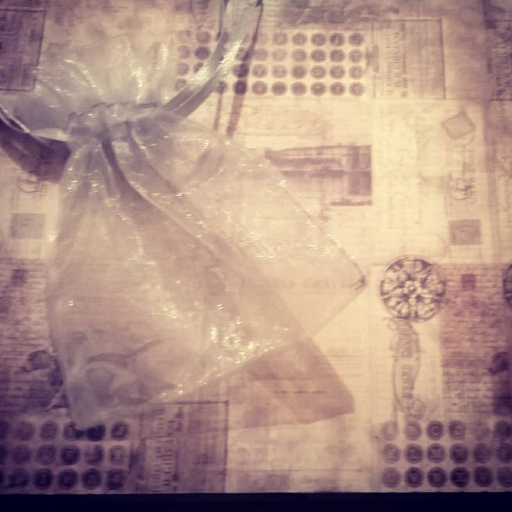Page inside #bespoke #moonback scrapbook. An organza bag perfect for holding magical keepsakes or memories