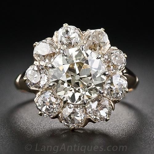 Love this. 2.32 Carat Center Victorian Diamond Cluster Ring - 10-1-5406 - Lang Antiques