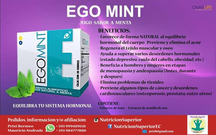 Ego Mint - Omnilife - Jugo sabor a menta - Pone en orden el sistema hormonal tanto femenino como masculino