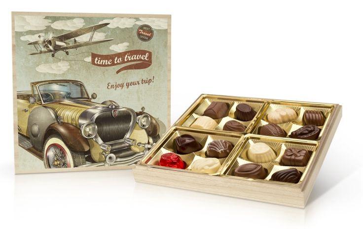 Retro bonboniera 200g s belgickými čokoládovými pralinkami