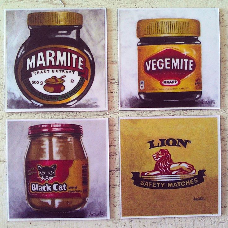 Brand name painting fridge magnets, Marmite, Vegemite, Lion matches, Black Cat peanut butter, Jungle Oats by StripeyStockings on Etsy