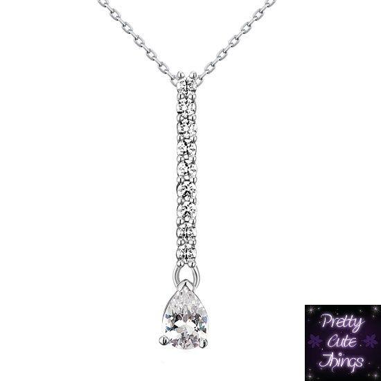 1 Carat Pear Cut Simulated Diamond 925 Sterling Silver Pendant N