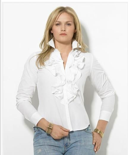 Lauren by Ralph Lauren Plus Size Shirt, Mandell Ruffled Broadcloth From  Macy's.com