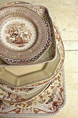 mixing brown transferware