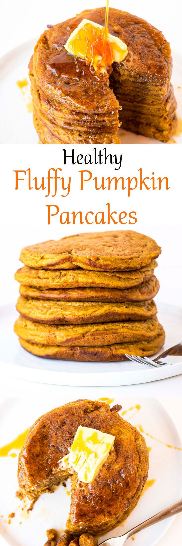 The most delicious Healthy Fluffy Pumpkin Pancakes recipe. The perfect fall breakfast or dessert. Gluten free and vegan alternatives available.