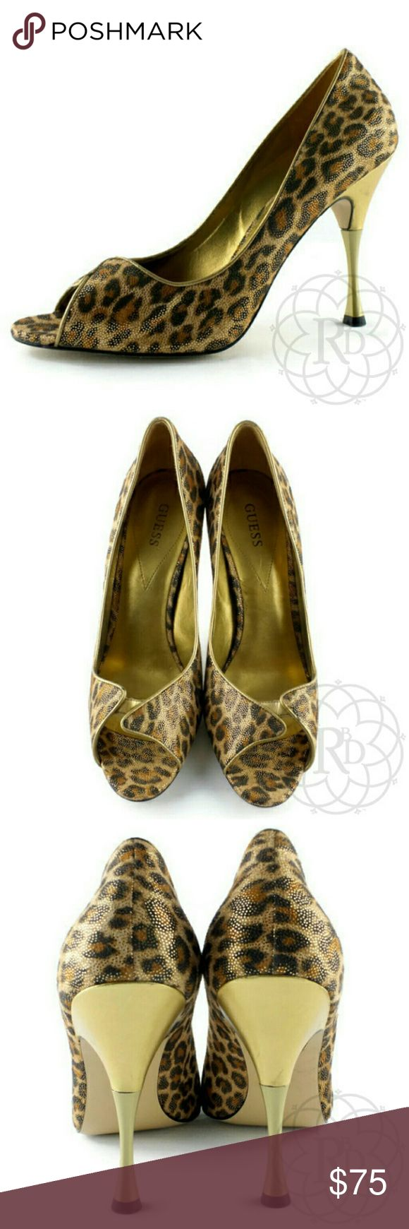 "NEW Guess Marciano Gold Leopard Peep-toe Heels Stunning Guess Marciano Gold Leopard Peep-toe Heels  ▪ Heel Height: 4 3/8"" inches  ▪ All measurements are approximate  💥 Brand New without Tag or Original Box   ✋ All Sales Final 