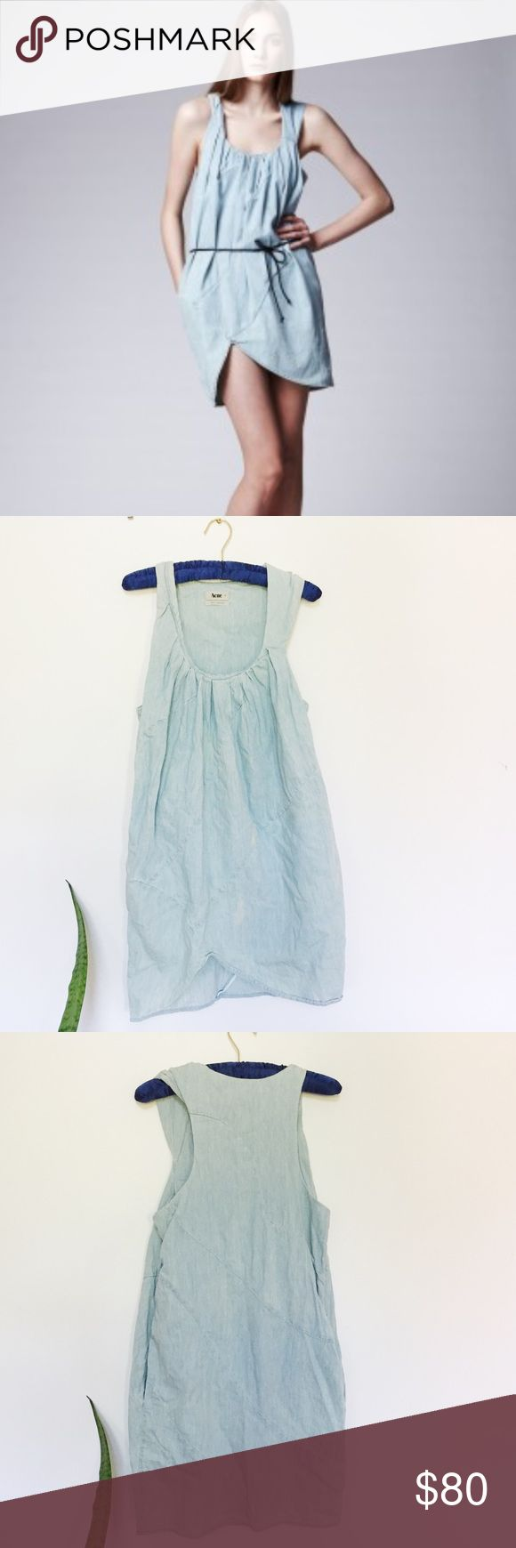 Acne Denim Mini Dress Super chic Acne Dress in good condition! There are two white stains on the front, but they sort blend in with the denim wash look. 100% cotton. Please note, it does not come with the belt in the first photo. Lightweight and loose fit, perfect for comfy summer days 💚 beautiful quality. Acne Dresses Mini