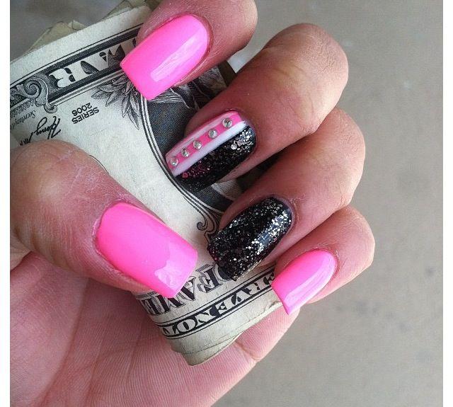 Black & Pink Square Nails