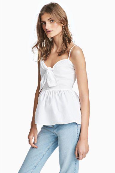 Bawełniany top z wiązaniem - Biały - ONA | H&M PL 1