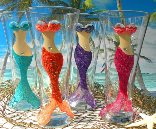 Mermaid Glasses Pilsner Beer Hand Painted Tropical Nautical Beautiful Beach Sea Fun Gift