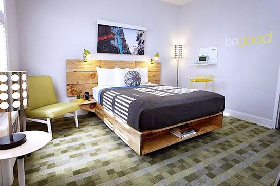 """17 Luxury Hotels For Under $100 A Night #refinery29 http://www.refinery29.com/affordable-hotels#slide-8 Good Hotel, San Francisco This hotel isn't just good for tourists; it's good for the environment, too. The mismatch, colorful furnishings are almost exclusively made from reclaimed and recycled materials, and the hotel's mantra is """"Renew, Reuse, Relax."""" It hopes to inspire and excite its gue..."""