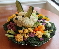 I finally got to try out my idea of making an Easter bunny veggie tray and so far, this has been my easiest one, yet!  The body is basically a...