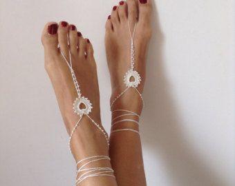 Sandalias de pies descalzos azul marino cuerda de por SibelDesign