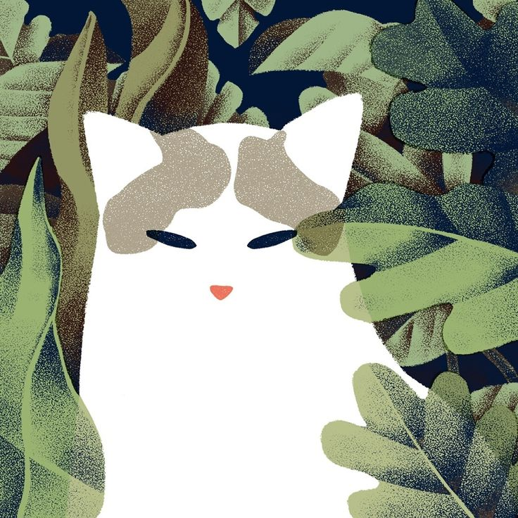 Cat and Plants - A gallery-quality illustration art print by Jeannie Phan for sale.