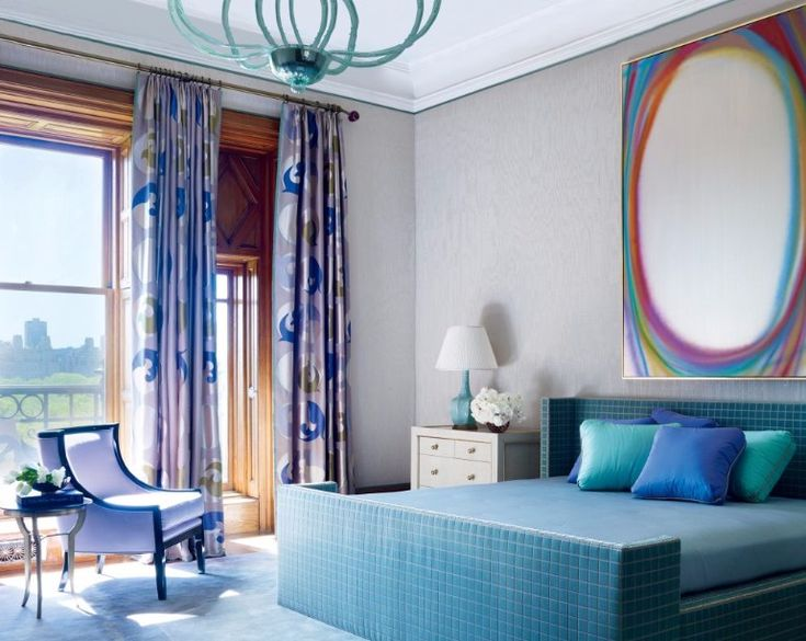 This design is a lot of fun. Colorful, light-hearted and vivid, it makes use of bright colors for maximum unpretentiousness, and the pool details on the bed are the cherry on top of the cake. Overall an exquisite master bedroom design.