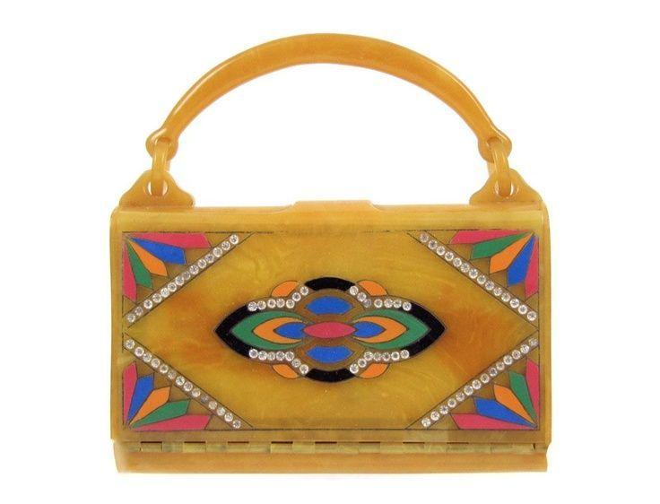 Ephemeral Elegance | Bakelite Box Purse, ca. 1930s via Orbiting Debris #bakelite #purses #handbags #antique #vintage #purses #womensfashion #fashionhistory