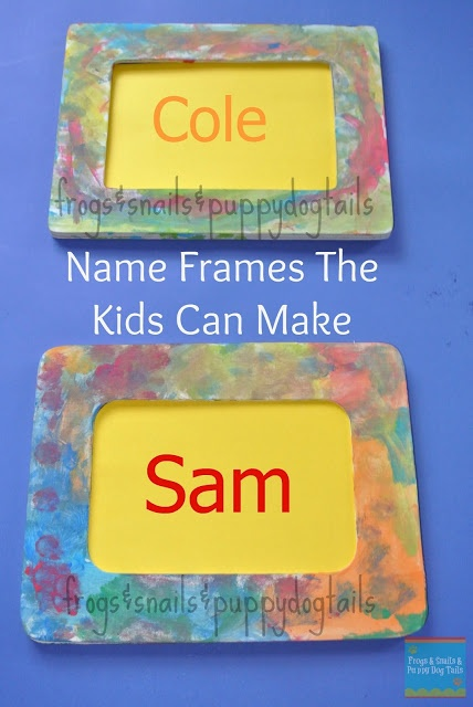 Name Frames- Fun To Make & {help kids learn their names}  Frogs & Snails & Puppy Dog Tails (FSPDT):