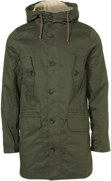 Topman Green Khaki Borg Lined Hooded Parka Men Style