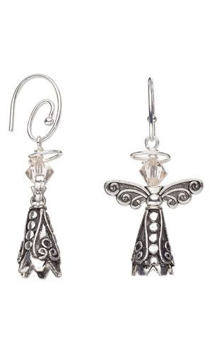 """Earring with Antiqued Silver-Plated Brass Cones, Antiqued Silver-Finished """"Pewter"""" Beads and SWAROVSKI ELEMENTS"""