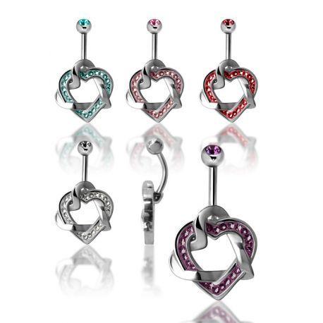 Piercing nombril Crystal Evolution Swarovski Coeurs entrelacés disponible sur Piercing Street. Petits prix, livraison en 24/48h et qualité garantie !