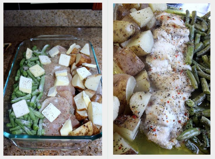 One Pan Chicken Dinner - Green Beans, Chicken, and Potatoes - Top in butter and an Italian Seasoning Packet, cover and bake for an hour.  It'll look like you were cooking all night :)