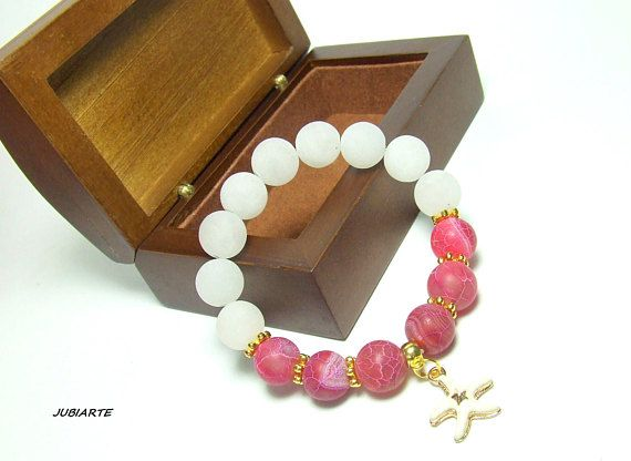 BIG AGATE & JADE stretchy bracelet white pink gold red