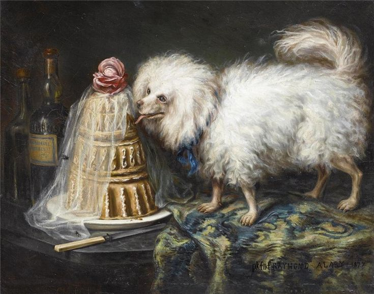 Raymond ALARY : BICHON LECHANT UNE PIECE MONTEE, 1877 http://www.delvaux.auction.fr/_fr/lot/raymond-alary-bichon-lechant-une-piece-montee-1877-151494#.V3P5x6Jv7eE