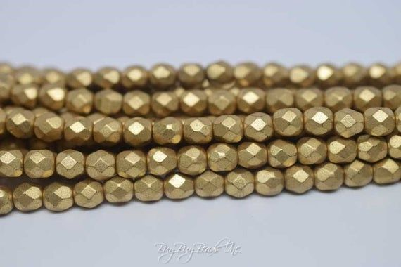 Antique Gold Colour 4mm Round Czech Glass Pearl Polished Beads x 25