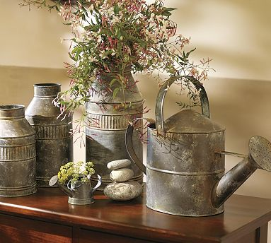 Vintage Watering Cans: Decor Ideas, Rustic Signs, Galvanized Metals, Rustic Decor, Rustic Style, Farmhouse Style, Water Cans, Flowers, Pottery Barns