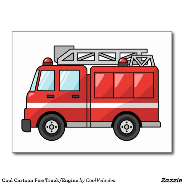 Coche de bomberos/motor frescos del dibujo animado tarjetas postales