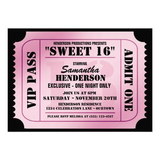 sweet 16 invitation ideas | Sweet Sixteen VIP Ticket Style Party Invitations at Zazzle.ca