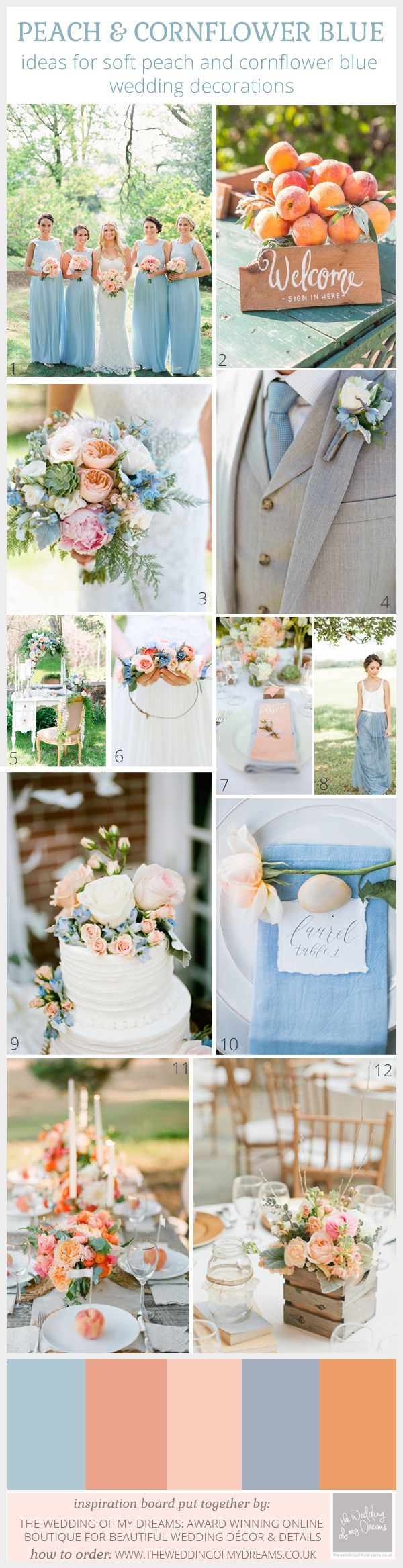peach and blue wedding decorations and ideas
