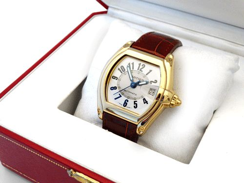 2524 Cartier Roadster - A gents solid 18ct yellow gold Cartier 'Roadster' wristwatch.  #2524cartierroadster