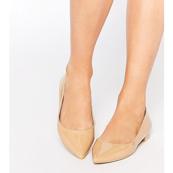 ASOS LOST Pointed Ballet Flats ($9.66) ❤ liked on Polyvore featuring shoes, flats, beige, pointy toe ballet flats, beige ballet flats, ballet flats, pointed toe ballet flats and slip on flats