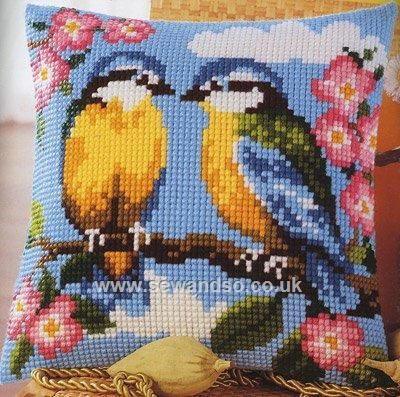 Buy Blue Tits and Blossom Cushion Front Chunky Cross Stitch Kit online at sewandso.co.uk