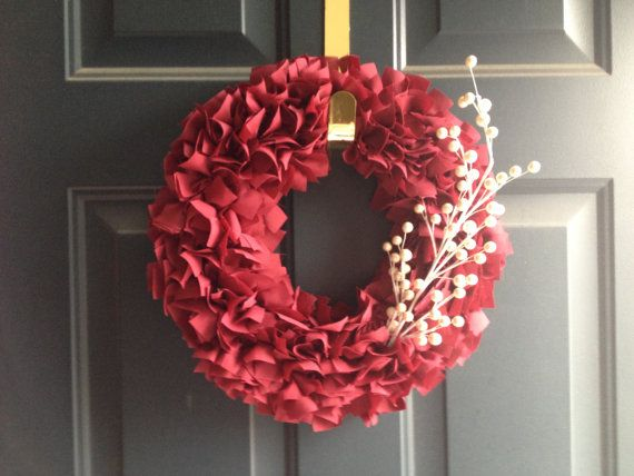 Red Fabric Rag Wreath with White Berries