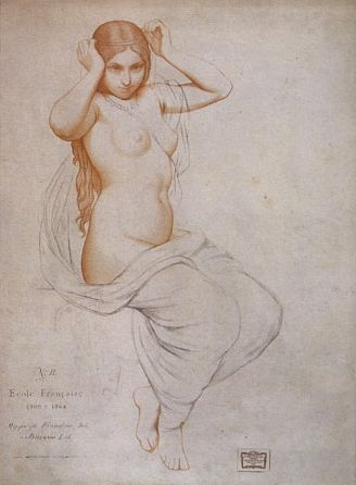 Plate II, 2. Hippolyte Flandrin (1809-1864), Study of a Woman. (Étude de femme.)Whereabouts unknown.  praxis | Old Master Drawing Bargue-Gérôme Drawing Course II