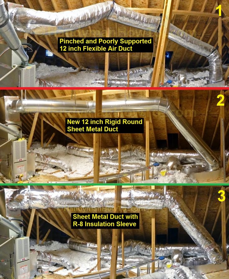 Flexible Air Duct Replacement with Round Sheet Metal Duct