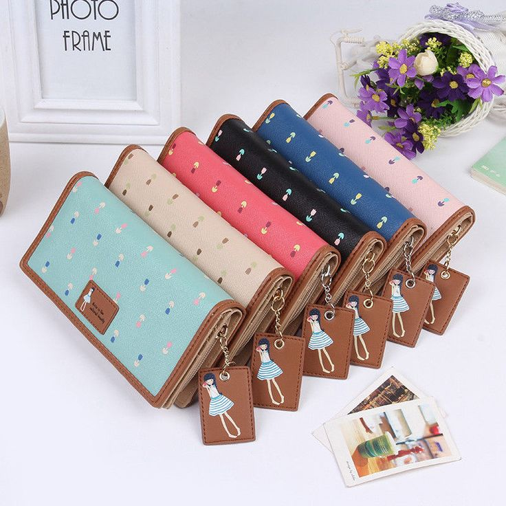 Women Long Korean Flower Pattern Pu Leather Zipper Wallet Buckle Coin Card Hold