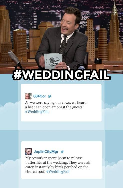 The Tonight Show Starring Jimmy Fallon Page Liked · Just now ·     Jimmy shares some of his favorite #WeddingFail tweets. Have your own funny story? Leave it below!  See more: https://www.youtube.com/watch?v=V3n5f1tE0mQ