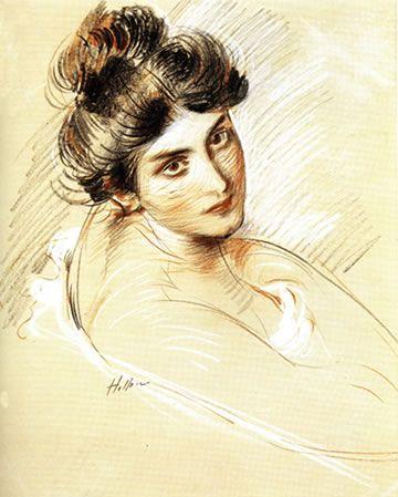 Paul-César Helleu, Portrait d'une jeune femme, Dessin aux trois crayons,