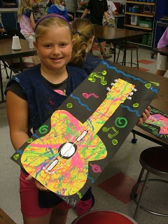 Jackson pollack guitars Art with Mrs. Seitz I am going to do this with my students tomorrow!