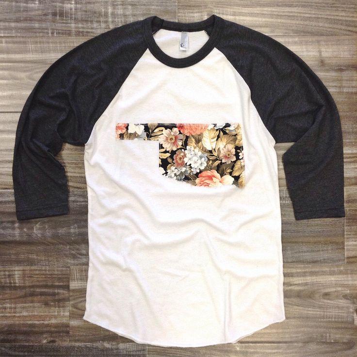 "Handmade Oklahoma Outline Baseball Shirt, T-Shirt,Tee- ""Floral"" by BeauandArrowUSA on Etsy https://www.etsy.com/listing/210569719/handmade-oklahoma-outline-baseball-shirt"