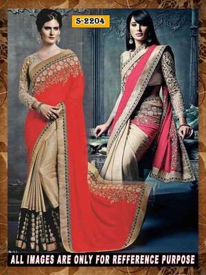 red ambroidery georgette  party wear saree with blouse Bollywood Sarees Online on Shimply.com