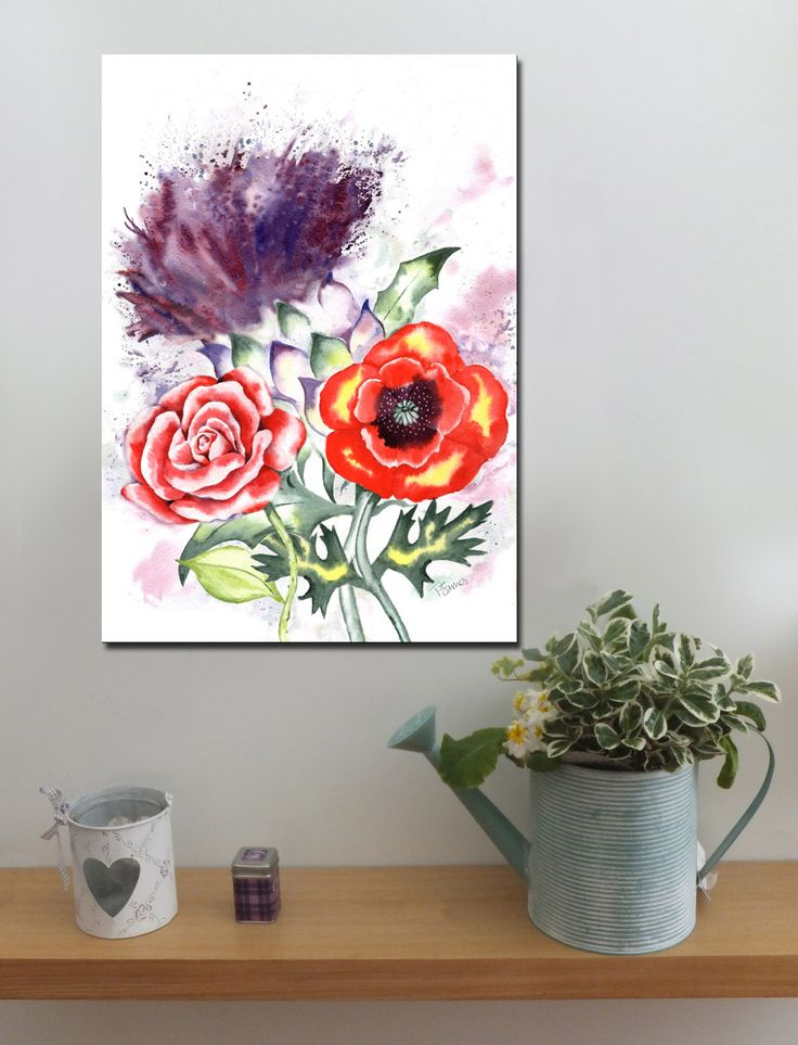 THISTLE, RED ROSE AND POPPY http://www.splashyartystory.com/shop/art-prints/thistle-red-rose-poppy-art-print-of-painting/