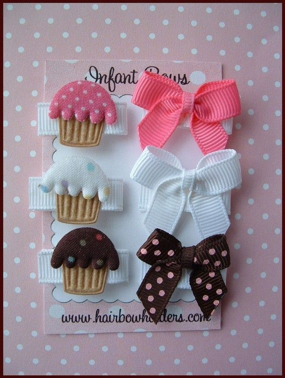 ~ ~ ~ ITEM DESCRIPTION ~ ~ ~ Enjoy these Infant Hair Pretties. As seen in Nordstrom's!! Simply squeeze into newborn's fine hair…all of these are pure velcro, velvet or grosgrain and an embellishment or two! No heavy clips. Perfect for the infant! Enjoy this pack of 6 for babys first hair bows - tiny cute cupcakes and matching hair bows!!! So precious.  For additional colors and packets, see Newborn section of this store.  Securely packaged for yourself or as a gift.  (during checkout, please…