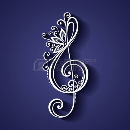 Vector Floral Decorative Treble Clef. Patterned Musical Sign photo