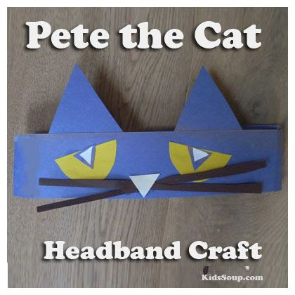 After your preschool and kindergarten students make this Pete the Cat craft, have them wear them durng story time and game activities. What you need:Blue craft paperYellow craft paperWhite craft paperBlack craft paperGlueScissors