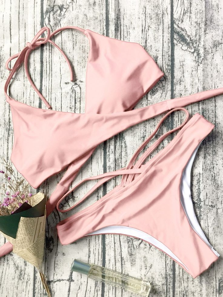 $12.99 Double Side Crossover Bikini Set - PINK L