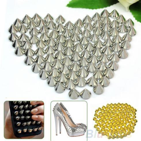 100 unidades 10mm metal prateado rebite pino picos ofício case saco de sapatos leathercraft acessórios acessórios diy US $1.47